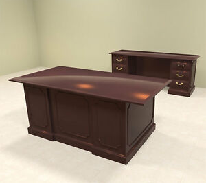 2pc Wood Traditional Executive Office Desk Set of tra d4
