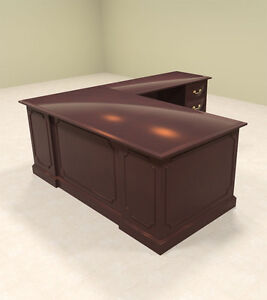 4pc Wood Traditional L Shaped Executive Office Desk Set of tra l1