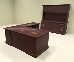 2pc Wood Traditional L Shaped Executive Office Desk Set of tra l3