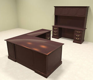 2pc Wood Traditional L Shaped Executive Office Desk Set of tra l6