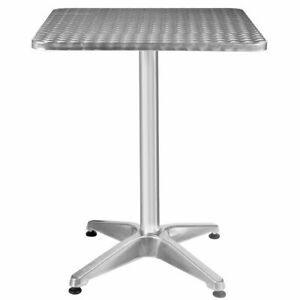 Aluminum Stainless Steel Square Table 23 1 2 Patio Pub Restaurant Adjustable