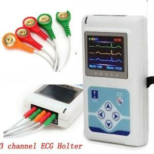 Handheld Dynamic Ecg Holter Systems 3 Lead 24 Hours Analyzer Usb Pc Software usa