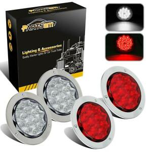 4pc Red white Chrome 4 Round 15 Led Truck Trailer Stop Brake Tail Backup Lights