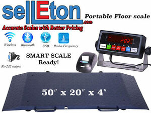 Portable Floor Scale With Printer To Weigh Drum Vet Livestock 2000 Capacity