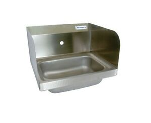 14 X 10 Stainless Steel Hand Sink W Dual Side Splashes Bbkhs w 1410 1 ss