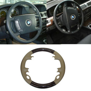 Tan Leather Wood Steering Wheel Cap Cover Trim Decor For 02 08 Bmw 7 E65 E66 745