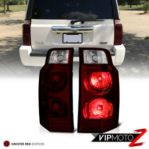 For 06 10 Jeep Commander dark Red Rear Brake Tail Lights Signal Reverse Lamps