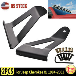 For 1984 2001 Jeep Cherokee Xj 50 Inch Curved Led Light Bar Roof Mount Brackets