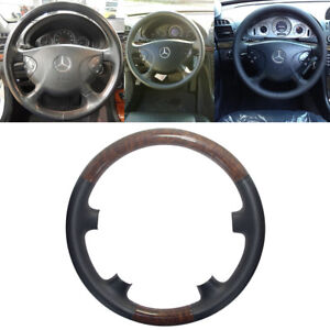 Black Leather Wood Steering Wheel Cover Cap For 02 06 Mercedes Benz W211 E Class