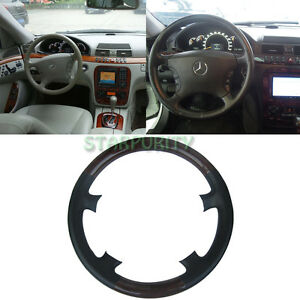 Black Leather Wood Steering Wheel Cover Mercedes Benz W220 S Class W215 C215 Cl