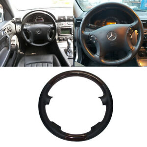Black Leather Wood Steering Wheel Cover 00 07 Mercedes W203 C 200 230 280 350 55