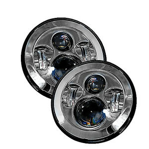 Chrome 7 Round Led Headlights 2 Anti flicker Harnesses For Jeep Wrangler