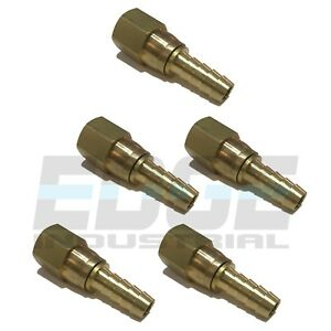 5 Pck 3 8 Swivel Hose Barb X 3 8 Female Npt Brass Pipe Fitting Gas Fuel Water