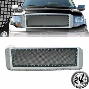 2007 2014 Ford Expedition Grille Rivet Black Ss Wire Mesh W Chrome Abs Shell