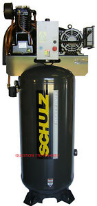 Schulz Air Compressor 7 5hp 30 Cfm 80 Gallon 175 Psi 230 1 Ph New