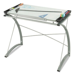 Glass Top Drafting Table 4 1 x24 x31 1 2 Clear Saf3966tg