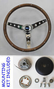 Ford Bronco Torino Fairlane Falcon Mustang Grant Steering Wheel Wood 13 1 2