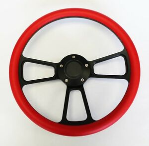 1970 77 Mustang Steering Wheel Red Grip On Black Spokes 14 Shallow Dish
