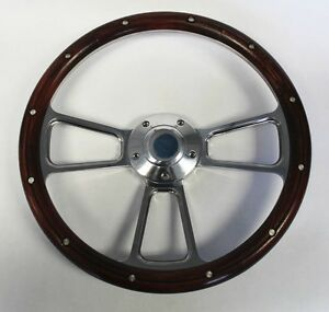 70 77 Ford Mustang Real Wood And Billet Steering Wheel 14 Plain Center Cap