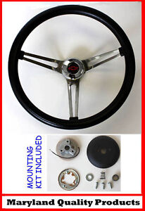 1966 Chevelle Grant Black Steering Wheel Red black Bowtie Center Cap 15