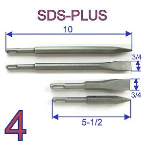 5 Pc Set 10 And 5 1 2 Sds Plus Point And Flat Chisel Drill Bit S