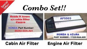 Combo Set For 03 07 Honda Accord 2 4l 04 08 Acura Tsx Engine cabin Air Filter