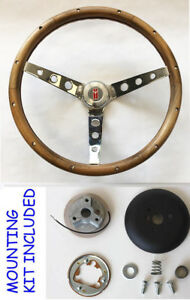 67 Olds Cutlass 442 Delta Grant Wood Steering Wheel 13 1 2 Walnut Grip