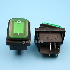 50pcs Green Lamp Waterproof Ip67 Dpst On off 4pin Rocker Switch 16 10 a 250v Ac