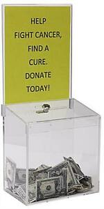 Clear Acrylic Suggestion Box With 9 w X 11 h Sign Display And Lock