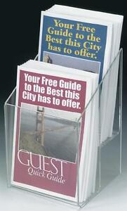 Clear Acrylic 2 Pocket Tiered Brochure Holder For 5 5 w Literature