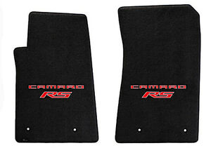 New Black Floor Mats 2010 2015 Camaro Embroidered Logo Rs In Red Double Logo