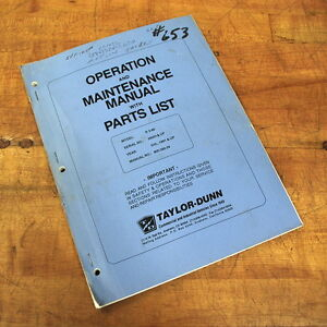 Taylor dunn Mr 380 24 Operation Maintenance Manual With Parts List Used