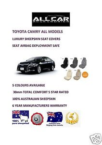 Sheepskin Car Seat Covers To Fit Toyota Camry 2000 on Airbag Safe 5 Colours