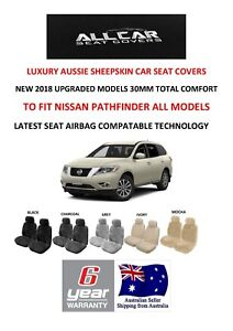 Sheepskin Car Seat Covers To Fit Nissan Pathfinder Airbag Safe 5 Colours 30mm