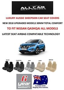 Sheepskin Car Seat Covers To Fit Nissan Qashqai Airbag Safe 5 Colours 30mm