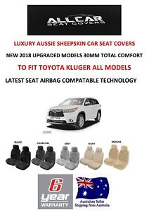 Sheepskin Car Seat Covers To Fit Toyota Kluger Models Seat Airbag Safe 30mm