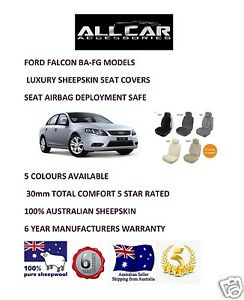 Sheepskin Car Seatcovers For Ford Falcon Ba To Fg Seat Airbag Safe 30mm Tc