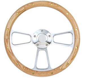 Nova Chevelle Impala El Camino Steering Wheel Oak Wood W rivet Billet 14 Bowtie