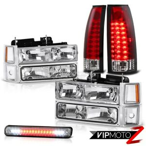 Chevy 94 98 Silverado Ck 1500 2500 Truck Clear Headlamps Led Red Tail Light Lamp