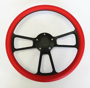 1964 1965 Chevelle El Camino Red On Black Steering Wheel 14 With Bowtie Cap