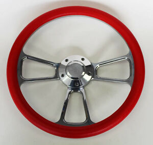 Chevelle Nova Camaro Impala 14 Steering Wheel Red Billet Chevy Bowtie Cap
