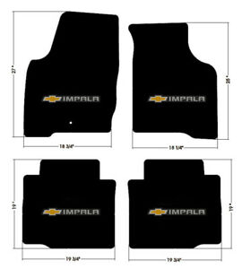 New Black Floor Mats 2006 2015 Chevy Impala Embroidered Bowtie Double Logo All