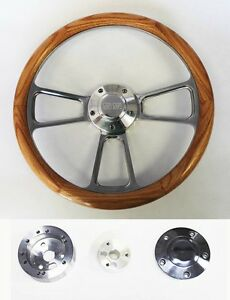 Oak Wood And Billet Steering Wheel Fits Ididit Flaming River Column 14 Ss Cap