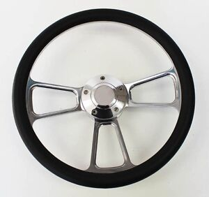 1985 1988 Ford Ranger Black And Billet Steering Wheel 14 Polished Spokes