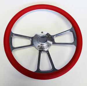1970 1977 Ford Mustang Red And Billet Steering Wheel 14 Shallow Dish Nice Wheel