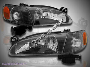 98 00 Toyota Corolla Blk Crystal Clear Headlights Left Right Corner Lights 4pcs