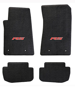 New Black Floor Mats 2010 2015 Camaro Embroidered Logo Rs In Red 4 Pc Set