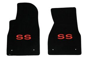 New Black Floor Mats 1993 2002 Camaro Embroidered Red Ss Logo Front Pair