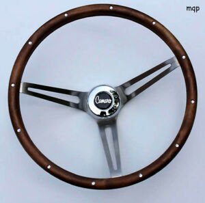 1969 1994 Camaro Grant Wood Steering Wheel 15 Brushed Stainless Spokes