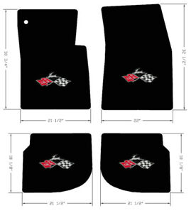 New 1961 1964 Black Floor Mats Impala Crossed Flags Embroidered Logo Set All 4